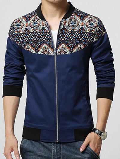 Store Stand Collar Ethnic Style Print Rib Spliced Zip-Up Jacket