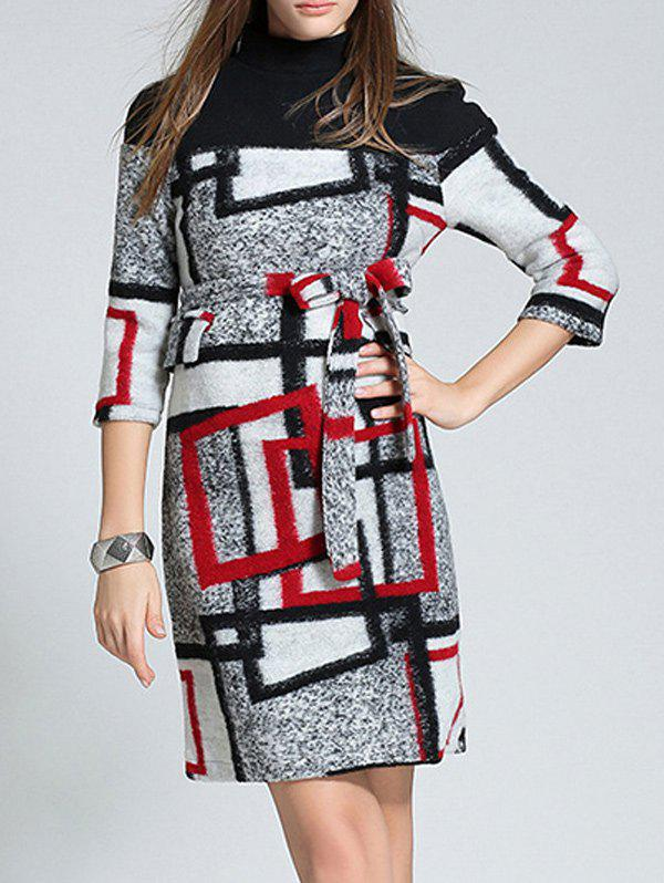 Affordable Belted Checked Wool Blend Sheath Dress