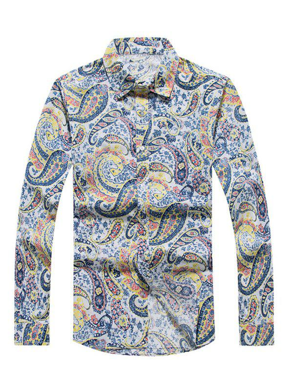 Discount Casual Paisley Printed Long Sleeve Hawaiian Shirt