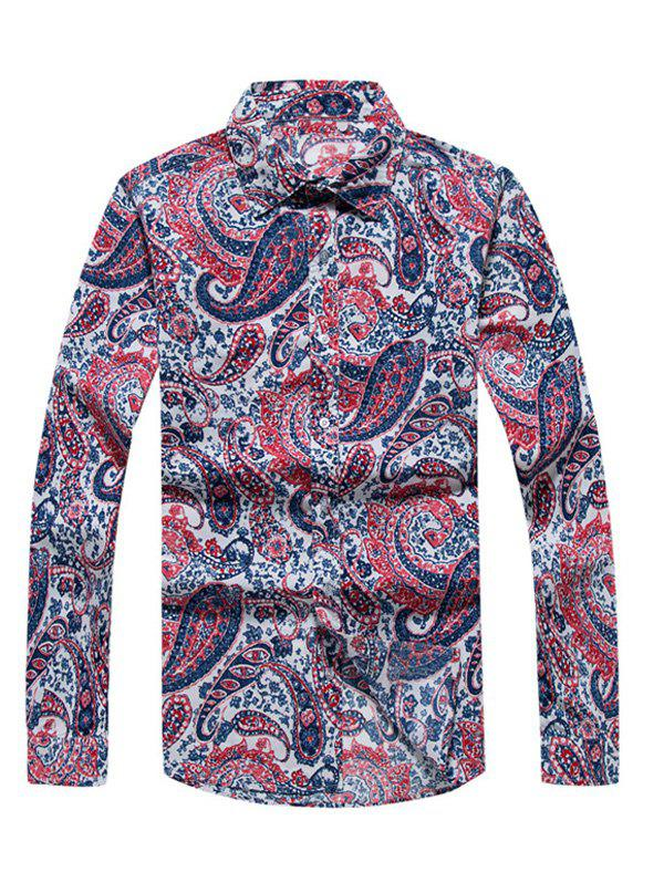 Fancy Casual Paisley Printed Long Sleeve Hawaiian Shirt