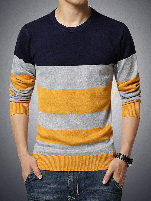 Color Block Stripe Imprimer col rond manches longues Pull