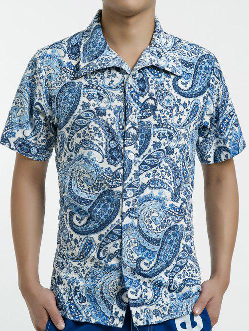 Shops Summer Button Down Short Sleeve Paisley Hawaiian Shirt