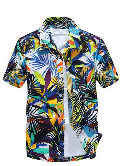 Chic All Over Leaves Print Casual Hawaiian Shirt