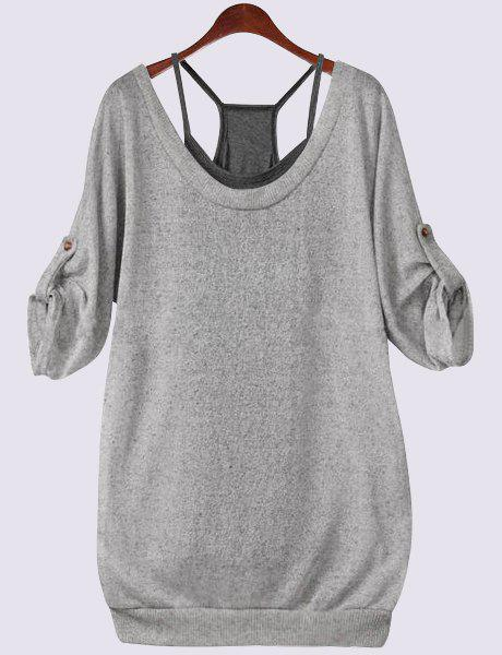 Plus Size Lace Up T-Shirt with CamisoleWOMEN<br><br>Size: 4XL; Color: GRAY; Material: Polyester; Shirt Length: Regular; Sleeve Length: Half; Collar: Scoop Neck; Style: Casual; Season: Fall; Pattern Type: Solid; Weight: 0.361kg; Package Contents: 1 x T-Shirt 1 X Tank Top;