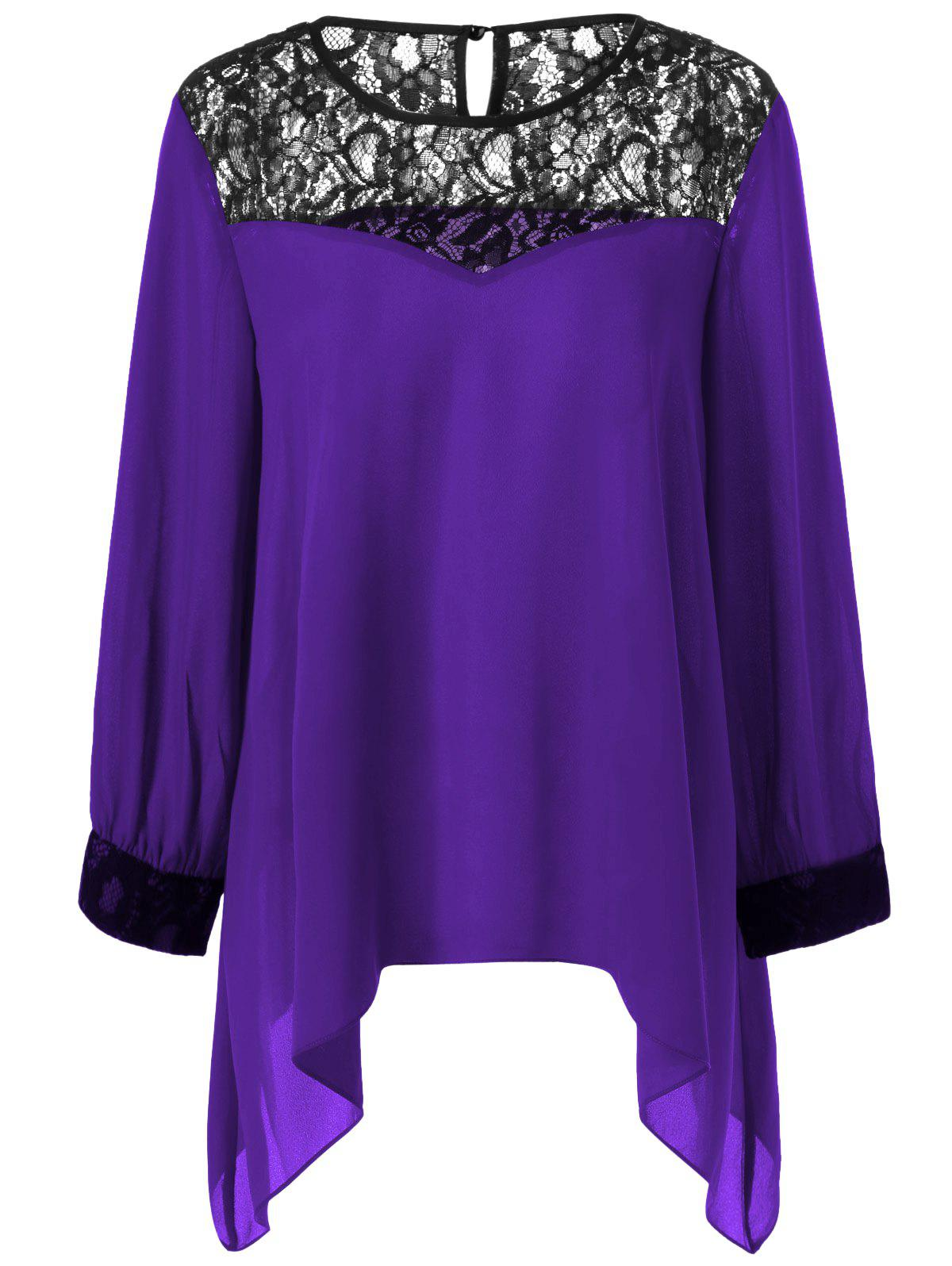 Plus Size Lace Splicing Asymmetrical BlouseWOMEN<br><br>Size: XL; Color: DEEP PURPLE; Material: Polyester; Shirt Length: Regular; Sleeve Length: Full; Collar: Scoop Neck; Style: Casual; Season: Spring,Summer; Pattern Type: Patchwork; Weight: 0.2130kg; Package Contents: 1 x Blouse;