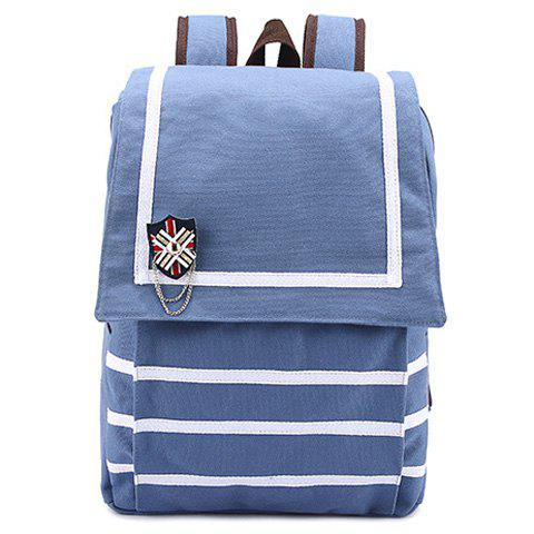 Chains Applique Canvas Couleur Navy Flap Backpack Bleu Glacé
