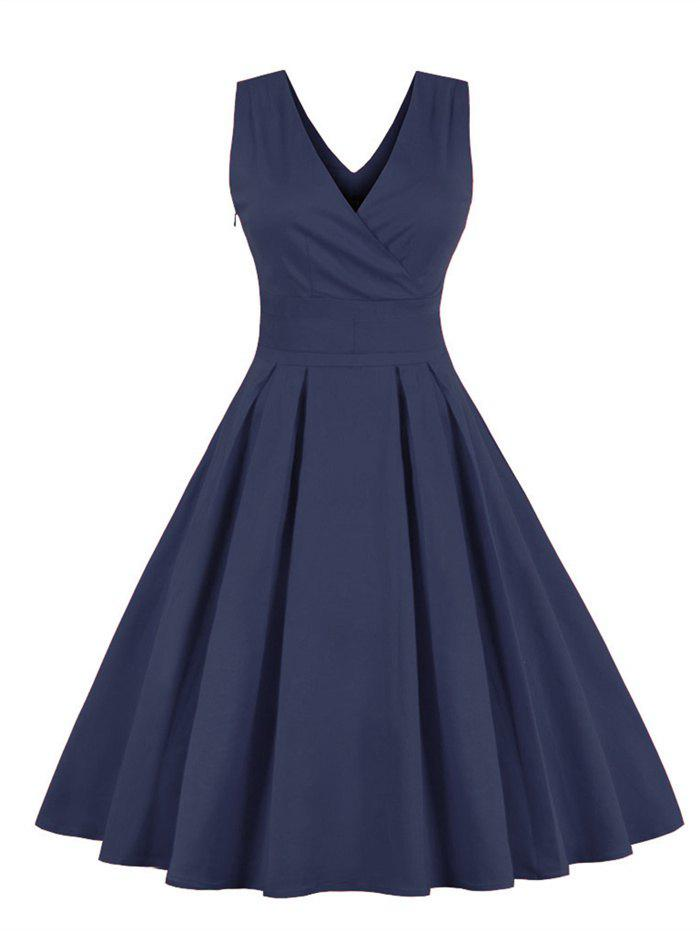Retro Sleeveless Tea Length Party DressWOMEN<br><br>Size: 4XL; Color: PURPLISH BLUE; Style: Vintage; Material: Cotton Blend,Polyester; Silhouette: Ball Gown; Dresses Length: Mid-Calf; Neckline: V-Neck; Sleeve Length: Sleeveless; Embellishment: Bowknot; Pattern Type: Solid; With Belt: No; Season: Fall,Spring,Winter; Weight: 0.4700kg; Package Contents: 1 x Dress;
