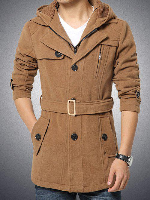 Fashion Button Embellished Zippered Hooded Belted Coat