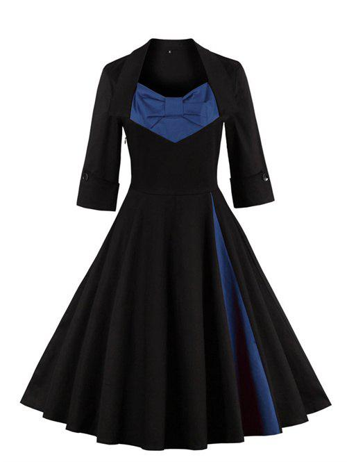 Bowknot Panel Flare Rockabilly Swing DressWOMEN<br><br>Size: 3XL; Color: PURPLISH BLUE; Style: Vintage; Material: Cotton Blend,Polyester; Silhouette: Ball Gown; Dresses Length: Knee-Length; Neckline: Sweetheart Neck; Sleeve Length: 3/4 Length Sleeves; Embellishment: Bowknot; Pattern Type: Patchwork; With Belt: No; Season: Fall,Spring,Winter; Weight: 0.4040kg; Package Contents: 1 x Dress;