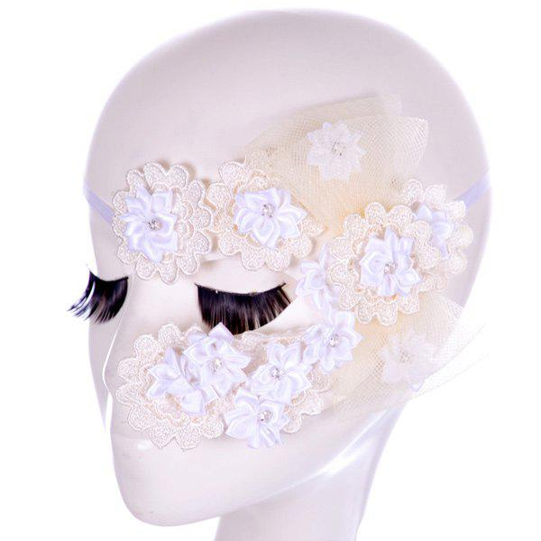 Cheap Faux Lace Rhinestone Floral Party Mask