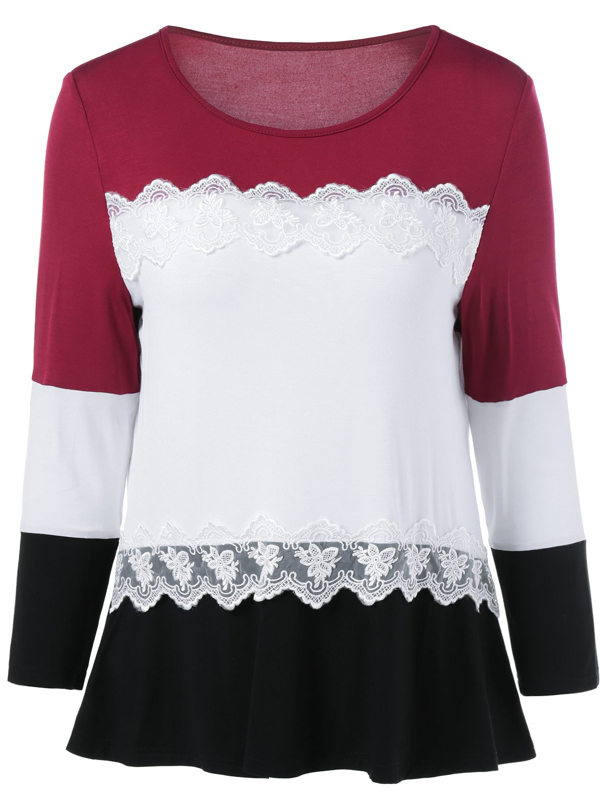 Buy Lace Splicing Long Sleeves T-Shirt