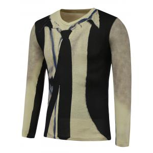 3D Tie Print V-Neck Long Sleeve Sweater