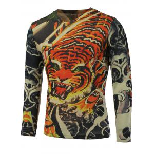 3D Tiger Printed V-Neck Long Sleeve Sweater - Colormix - M