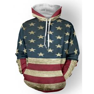 Distressed American Flag Pullover Hoodie - Deep Blue - 3xl