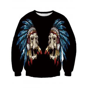 Round Neck Feather Mask 3D Print Sweatshirt