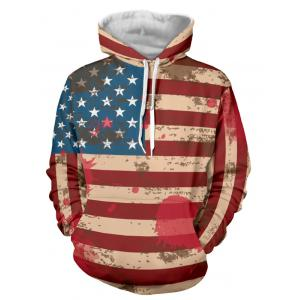 Distressed American Flag Drawstring Pullover Hoodie - Red - Xl