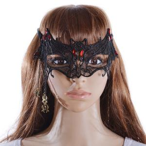 Faux Ruby Spider Bat Party Mask - Black