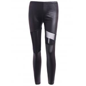 Hollow Out Ninth Faux Leather Pants - Black - One Size