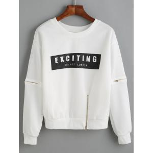 Letter Applique Zipper Design Pullover Sweatshirt