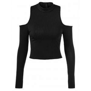 Back Zipper Cut Out Pullover Sweater - Black - One Size