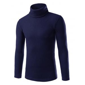 Turtle Neck Slimming Long Sleeve Knitting Sweater - Cadetblue - 2xl