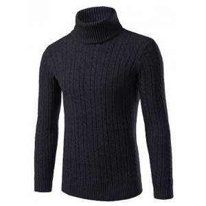 Turtle Neck Kink Design Slimming Ribbed Sweater