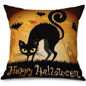 Soft Happy Halloween Cat Printed Decorative Pillow Case
