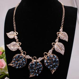 Rhinestone Filigree Leaf Statement Necklace