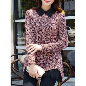 Floral Pattern Spliced Loose-Fitting Blouse