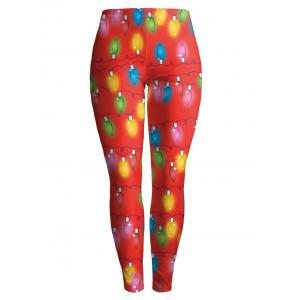 Christmas Ornate Printed Stretchy Leggings - Red - M