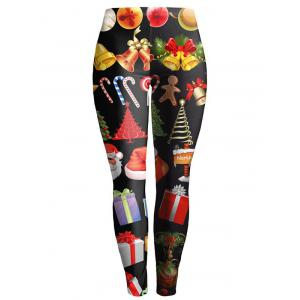 Christmas Ornate Printed Slimming Leggings - Black - M