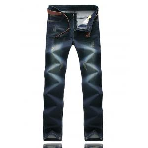 Zipper Fly Five-Pocket Scratched Jeans