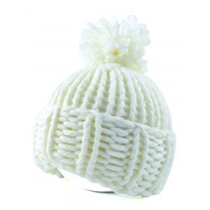 Casual Big Ball Flanging Coarser Knit Hat - White - One Size