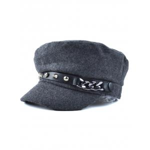 Casual Rivet Chain PU Belt Felt Newsboy Hat - Deep Gray - 37