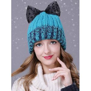 Warm Lace Bowknot Flanging Knitted Faux Wool Hat