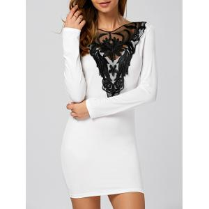 Embroidery Long Sleeve Mini Fitted Dress with Lace