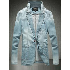 Breast Pocket One-Button Denim Jacket