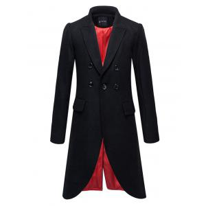 Flap Pocket Button Embellished Split Overcoat