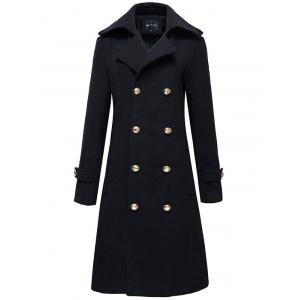 Half Back Belt Epaulet Design Button-tab Cuffs Peacoat