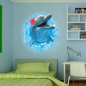 3D Stereo Dolphin Leaping Out The Sea Decorative Wall Stickers For Kids Rooms