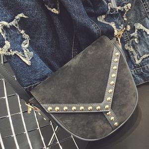 PU Spliced Faux Suede Rivet Crossbody Bag - Gray - 38