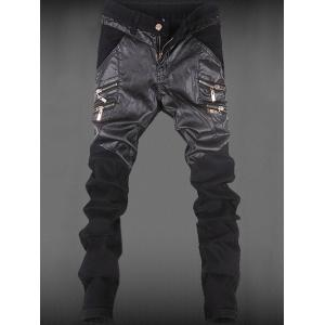 Zippered Pocket Rivet Leather Patchwork Tapered Pants
