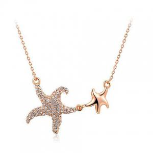 Artificial Diamond Star Pendant Necklace - Rose Gold