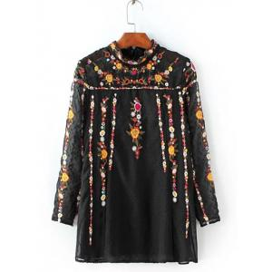 Ruffled Flowers Mexican Embroidered Spliced Blouse - Black - Xs