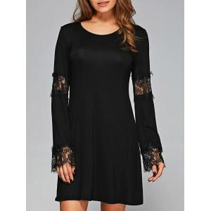Lace Cuffs Openwork Long Sleeves Dress - Black - S