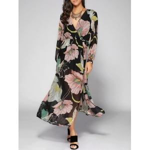 Long Sleeve Printed Thigh Split Maxi Dress
