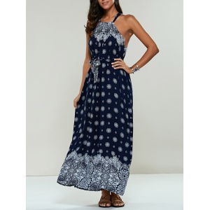 Long Ethnic Print Maxi Halter Sleeveless Dress