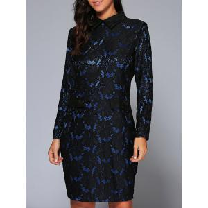 Long Sleeve Collared Lace Pencil Bodycon Dress - Blue - M