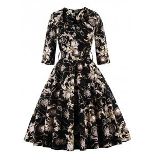Vintage High Waist Ornate Print Flare Dress