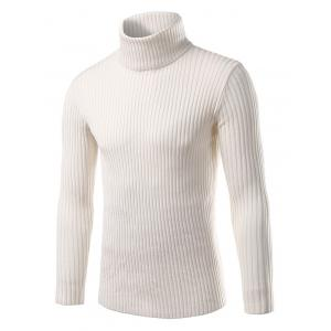 Turtle Neck Slimming Vertical Stripe Long Sleeve Sweater - White - Xl
